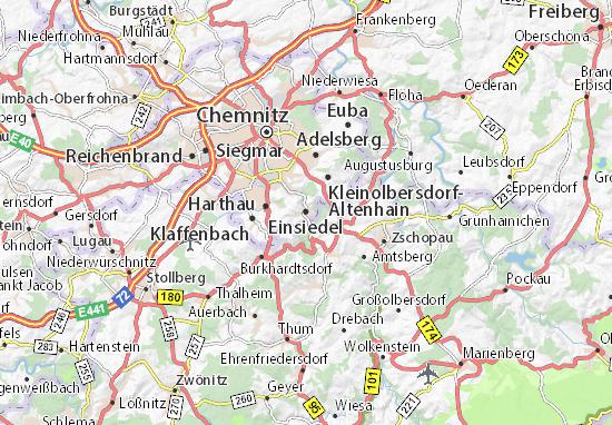Karte Chemnitz.Karte Stadtplan Einsiedel Viamichelin
