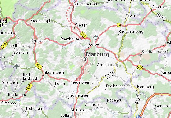 Kaart Plattegrond Marburg
