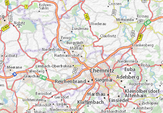 Karte Chemnitz.Karte Stadtplan Hartmannsdorf Viamichelin