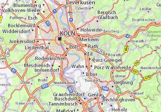 Karte stadtplan porz viamichelin - Mobelhauser koln und umgebung ...