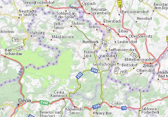 Krásná Lípa Map
