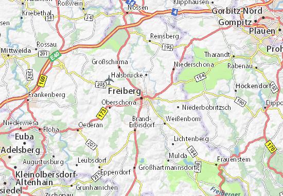 Karte Stadtplan Freiberg