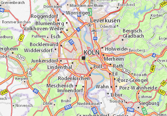 Map of Cologne - Michelin Cologne map - ViaMichelin