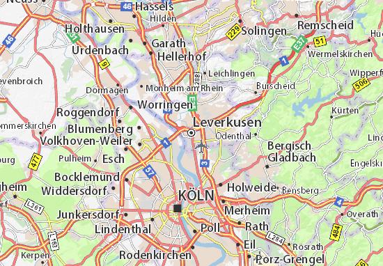 Mapa Leverkusen