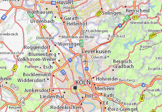 Kaart Plattegrond Leverkusen