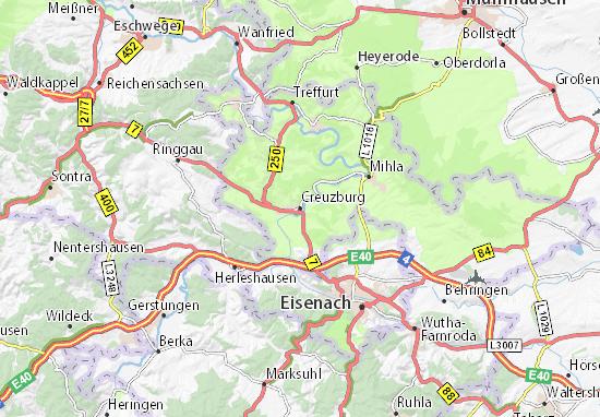Mapa Plano Creuzburg