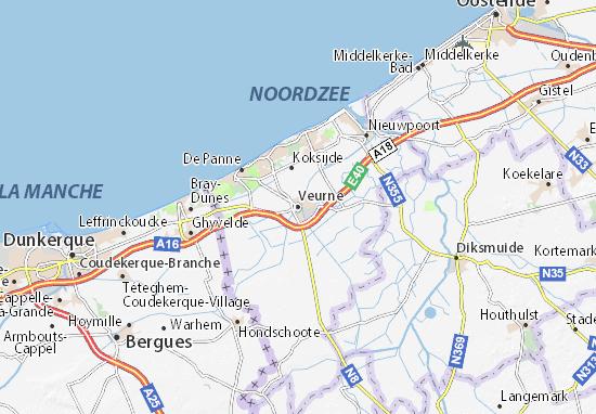 Kaart Plattegrond Veurne