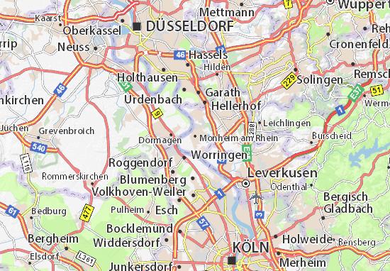 Karte Stadtplan Monheim am Rhein
