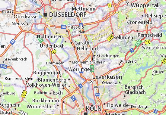 Kaart Plattegrond Langenfeld