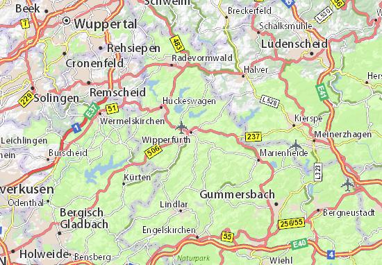 Karte Stadtplan Wipperfürth