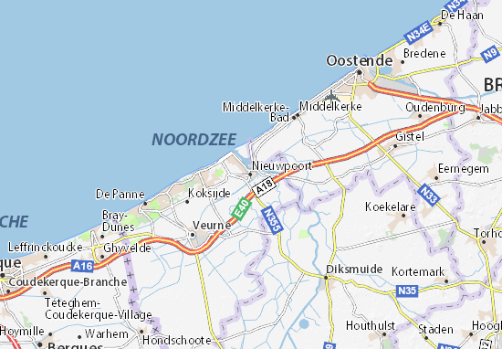 Kaart Plattegrond Nieuwpoort