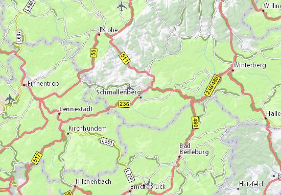Sauerland Karte Deutschland.Karte Stadtplan Schmallenberg Viamichelin