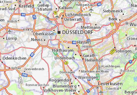 Düsseldorf Karte.Karte Stadtplan Holthausen Viamichelin