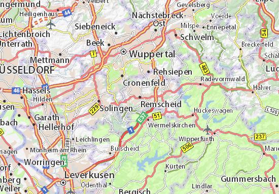 Kaart Plattegrond Remscheid