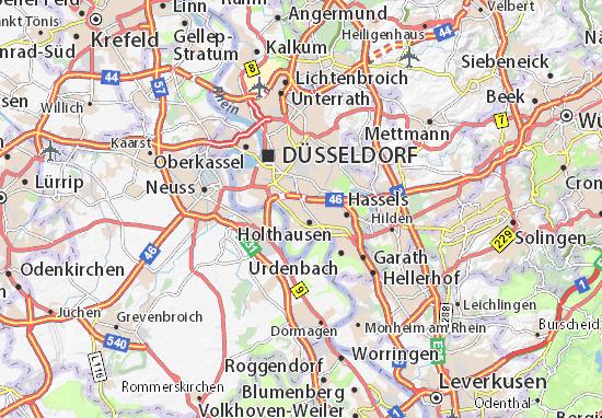 Düsseldorf Karte.Karte Stadtplan Wersten Viamichelin