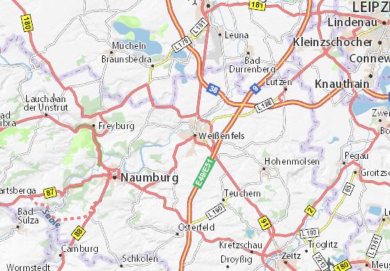 Kaart Plattegrond Weißenfels