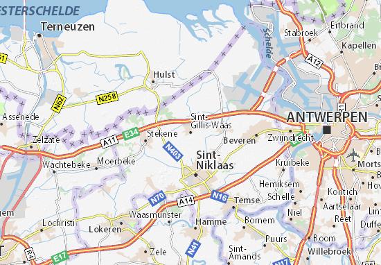 Mapa Plano Sint-Gillis-Waas