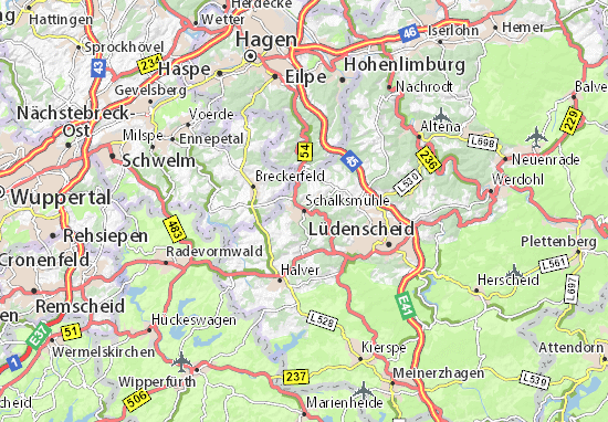 Karte Stadtplan Schalksmühle