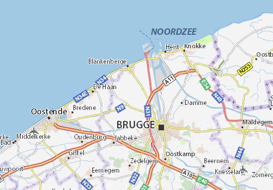 Kaart Plattegrond Zuienkerke