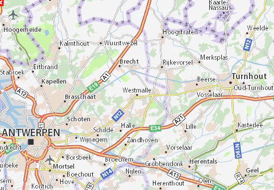 Kaart Plattegrond Westmalle