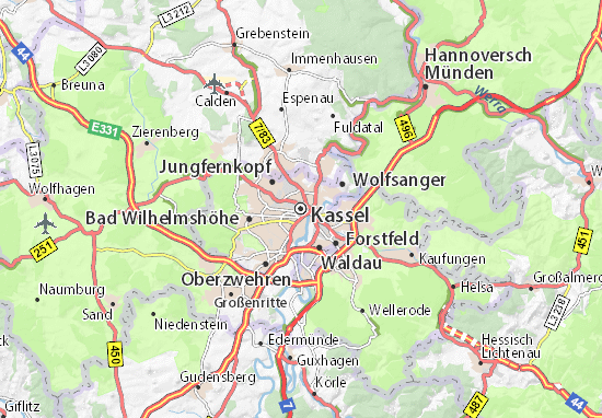 kassel karta Map of Kassel   Michelin Kassel map   ViaMichelin kassel karta