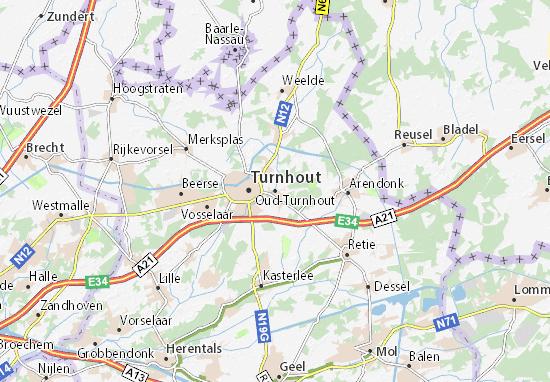 Kaart Plattegrond Oud-Turnhout