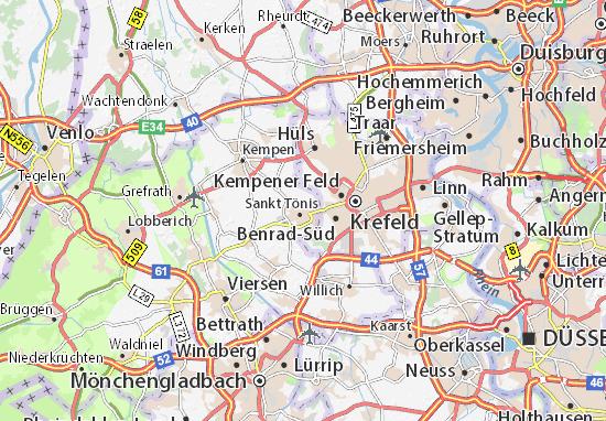Kaart Plattegrond Sankt Tönis
