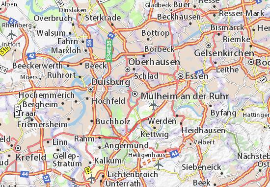 Karte Stadtplan Mülheim an der Ruhr