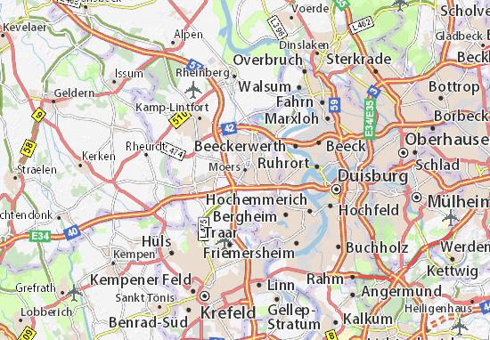 Karte Stadtplan Moers