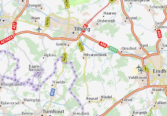 Kaart Plattegrond Hilvarenbeek