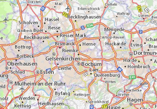 Herne Karte Stadtteile.Karte Stadtplan Riemke Viamichelin