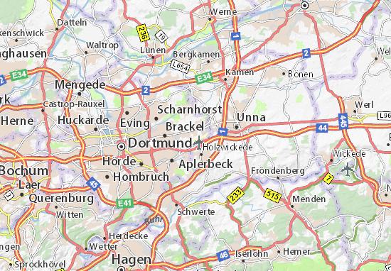 Karte, Stadtplan Dortmund-Wickede Flughafen