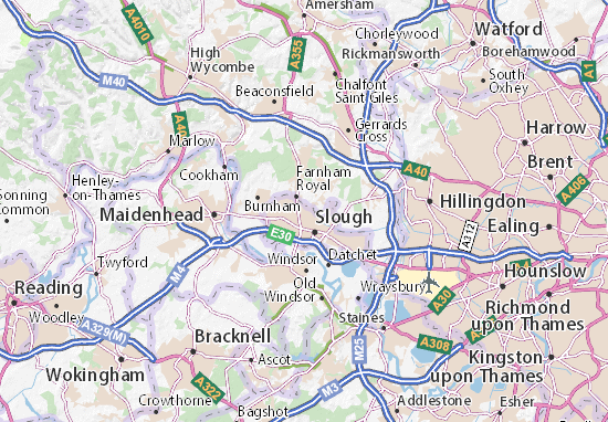 Carte Reading Angleterre.Slough Map Detailed Maps For The City Of Slough Viamichelin