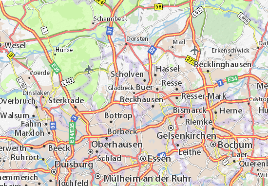 Carte-Plan Gladbeck