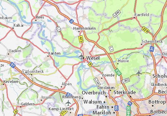 Kaart Plattegrond Wesel