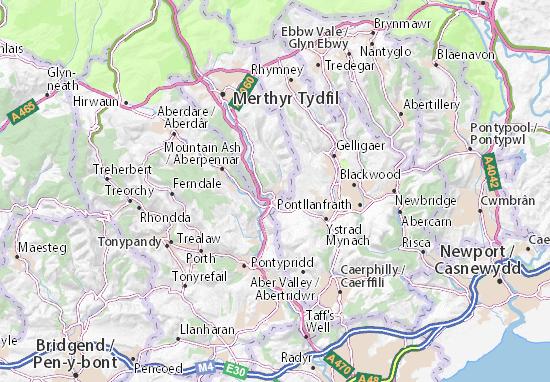 Kaart Plattegrond Treharris