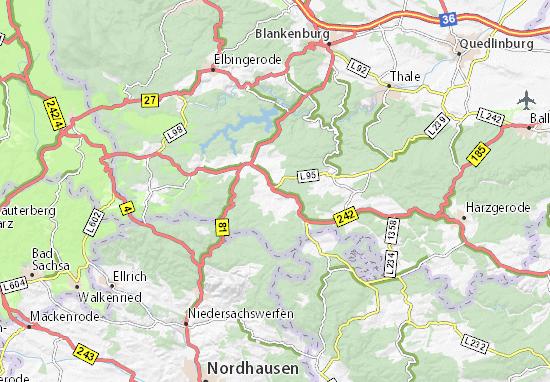 Nordhausen Karte.Karte Stadtplan Stiege Viamichelin