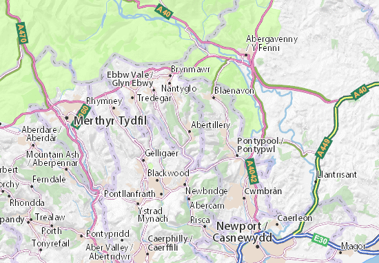 Kaart Plattegrond Abertillery