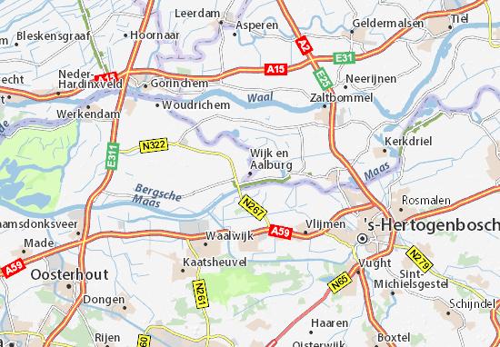 Kaart Plattegrond Wijk en Aalburg