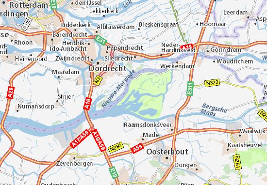 kaart biesbosch Kaart van Brabantse Biesbosch  plattegrond van Brabantse Biesbosch
