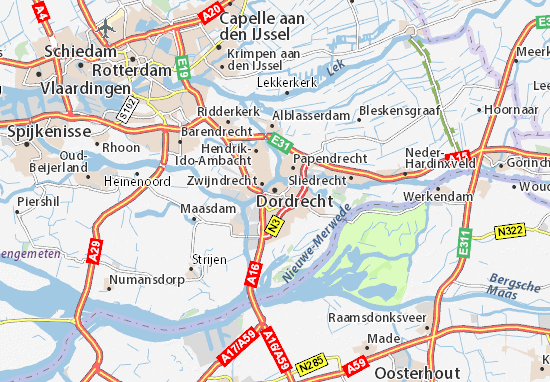 Kaart Plattegrond Dordrecht
