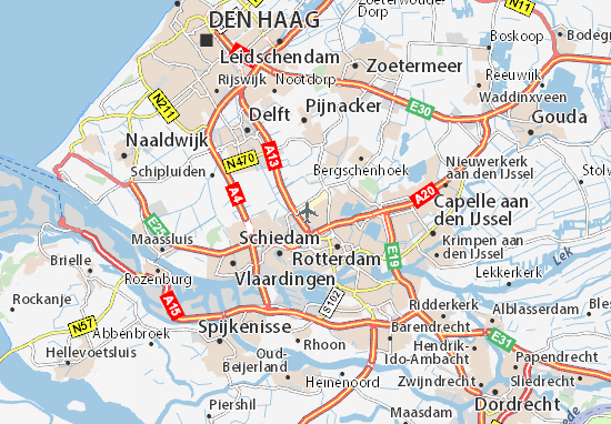 Map of Luchthaven Rotterdam - Michelin Luchthaven Rotterdam map ...