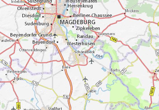 Kaart Plattegrond Schönebeck