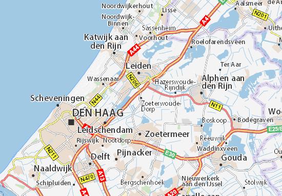 Kaart Plattegrond Zoeterwoude-Dorp