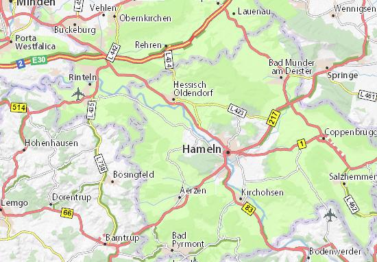 Hameln Karte.Karte Stadtplan Haverbeck Viamichelin