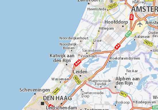 Karte Stadtplan Voorhout