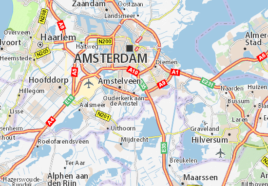 Carte-Plan Ouderkerk aan de Amstel