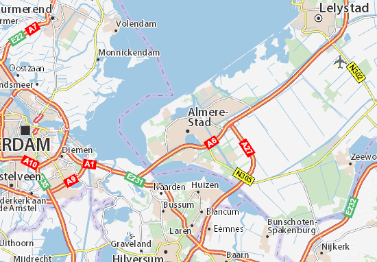 Kaart Plattegrond Almere-Stad