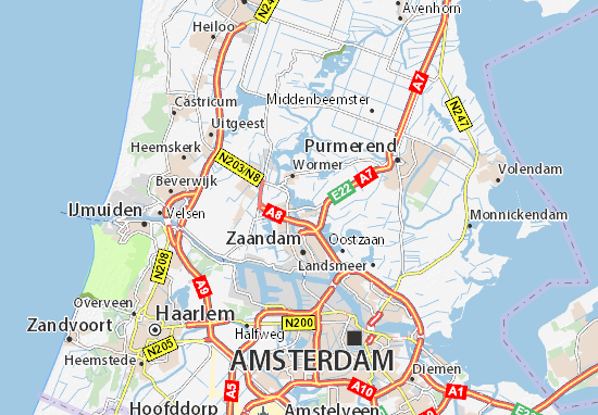 Cartina Amsterdam.Mappa Michelin Zaanse Schans Pinatina Di Zaanse Schans Viamichelin