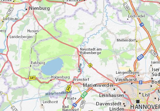Kaart Plattegrond Neustadt am Rübenberge